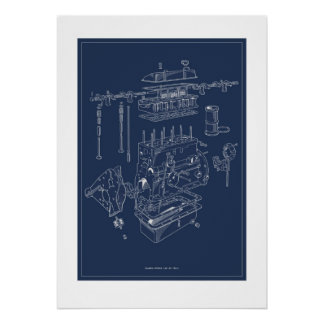 Motor-schematisches Plakat des Triumph-TR4A - Plan