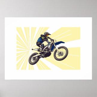 Motorcross Reiter auf einem hellgelben Hintergrund Poster