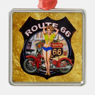 Motorrad Amerika-Weges 66 mit einer Silbernes Ornament
