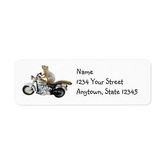 Motorrad-Eichhörnchen-Rücksendeadressen-Aufkleber