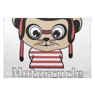 Motorrad-Maus, Vintager Entwurf des Raten-Cartoon Stofftischset