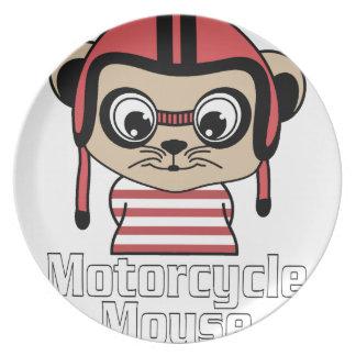 Motorrad-Maus, Vintager Entwurf des Raten-Cartoon Teller