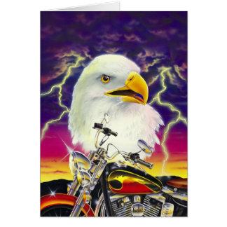 Motorrad mit amerikanischem Adler Grußkarte