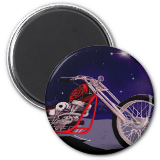 Motorrad-Mondschein-Kunst Runder Magnet 5,1 Cm