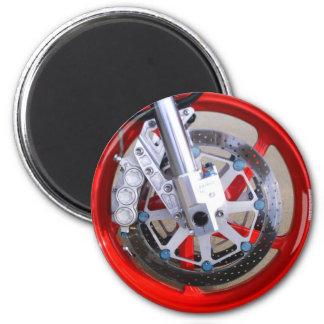 Motorrad-Motorrad-Rad-Rot fasst Foto ein Runder Magnet 5,1 Cm