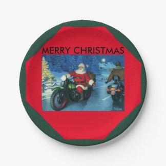 Motorrad Pappteller FROHER WEIHNACHTEN