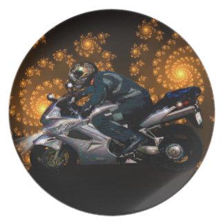 Motorrad-Power-Radfahrer-Transport-Geschenk Melaminteller