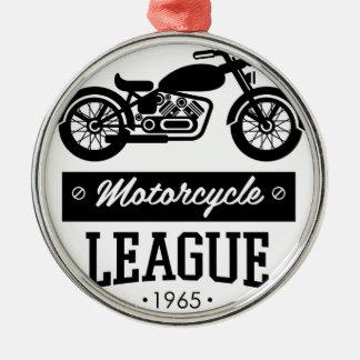 Motorrad-Sammlungslogos Rundes Silberfarbenes Ornament