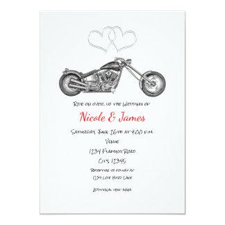 Motorrad-u. Silber-Herz-Radfahrer-Hochzeit 12,7 X 17,8 Cm Einladungskarte