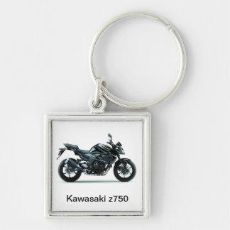 Motorräder Kawasakis z750 Silberfarbener Quadratischer Schlüsselanhänger