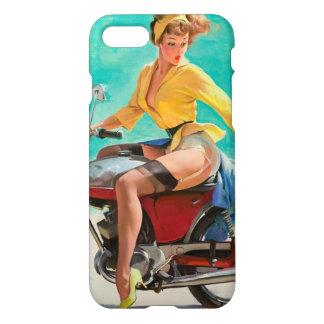 Motorradpinup-Mädchen - Retro Pinup-Kunst iPhone 7 Hülle