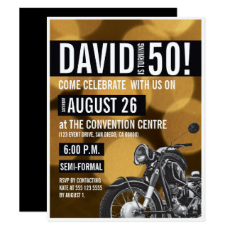 Motorradthema, 50. Geburtstag, Gold und Schwarzes 10,8 X 14 Cm Einladungskarte