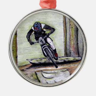 Mountainbike Llandegla mtb bmx Silbernes Ornament