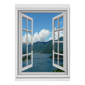 Mountainsee-Ansicht Trompe - L ' oeil Fake-Fenster Poster