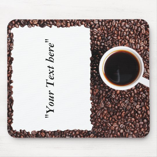 Mousepad mit Kaffemotiv und Textfeld