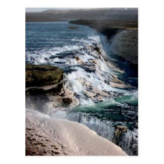 Möve Foss Wasserfall Island Postkarte