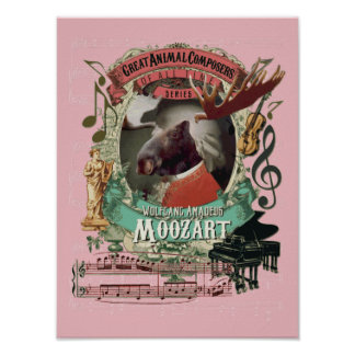 Mozart-Parodie-Parodie Moozart lustiger Poster