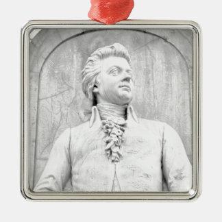 Mozart Quadratisches Silberfarbenes Ornament
