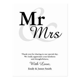 Mr&Mrs danken einfache elegante Postkarte