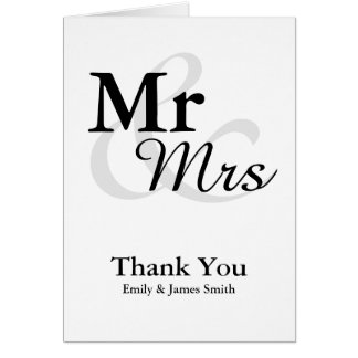 Mr&Mrs einfache elegante Hochzeit danken Ihnen Mitteilungskarte