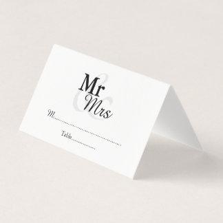Mr&Mrs einfache elegante Hochzeit Platzkarte