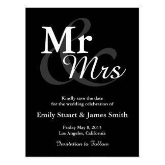 Mr&Mrs einfache elegante Typografie Save the Date Postkarte
