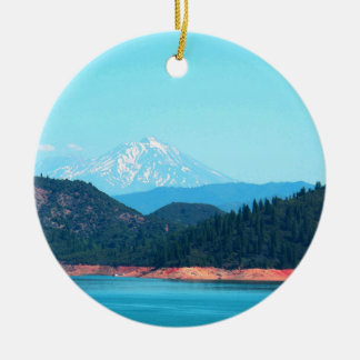 Mt Shasta Rundes Keramik Ornament