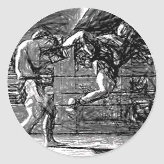 Muay Thai, Fight, Thai-Boxing Runder Aufkleber