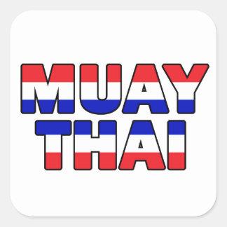 Muay thailändisches quadratischer aufkleber