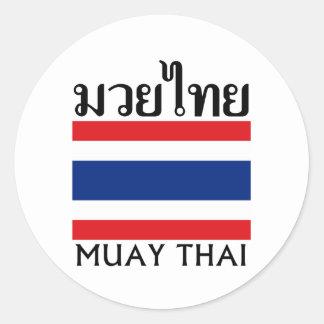 Muay thailändisches + Thailand-Flagge Runder Aufkleber