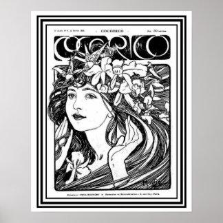 Mucha Kunst Nouveau Abdeckung für Cocorico-      Poster