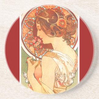 Mucha Kunst Nouveau Dame Coaster Getränke Untersetzer