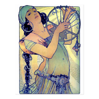 mucha Sinti und Roma Tambourine-Tanzmusikfrau Postkarte
