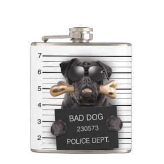 Mugshothund, lustiger Mops, Mops Flachmann