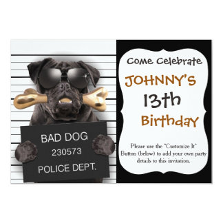 Mugshothund, lustiger Mops, Mops Karte