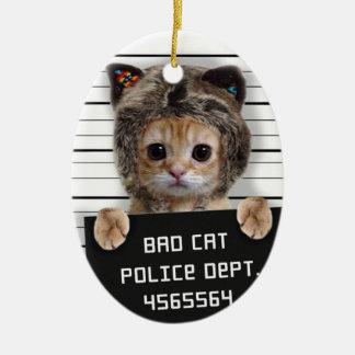 Mugshotkatze - verrückte Katze - Miezekatze - Keramik Ornament