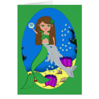 Muirenn die Meerjungfrau und der Delphin kardieren Karte