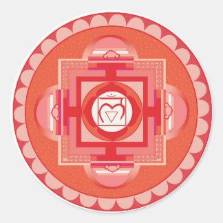 Mūlādhāra Mandala Chakra (Root chakra) Runder Aufkleber
