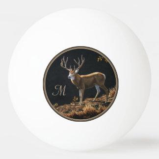 Mule Deer Buck Autumn Trophy Antlers Monogram Ping-Pong Ball