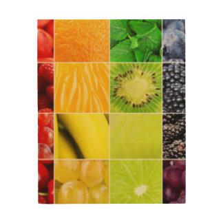 Multi bunte Frucht-Collage Holzleinwand