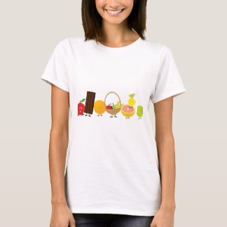 Multi-Charakter NahrungsmittelCartoon T-Shirt