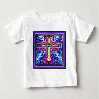 Multi FarbBuntglas Kreuz Baby T-shirt
