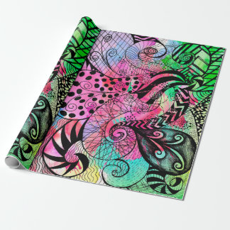 Multi Farbwatercolor-und -tinten-Muster-Zeichnen Geschenkpapier