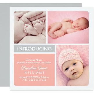 Multi-Foto Geburts-Mitteilungs-Karte | erröten, Karte