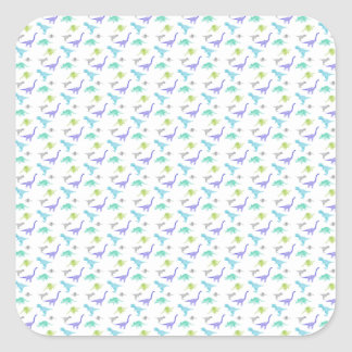MulticolorDinosBig Quadratischer Aufkleber