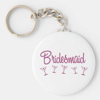 MultiMartini-Brautjungfer-Rosa Standard Runder Schlüsselanhänger