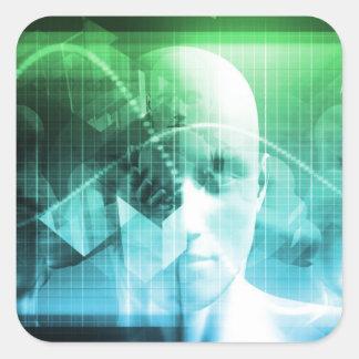 Multimedia-Technologie-Digital-Gerät-Informationen Quadratischer Aufkleber