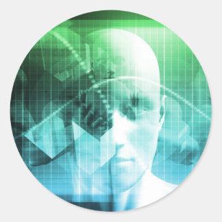 Multimedia-Technologie-Digital-Gerät-Informationen Runder Aufkleber