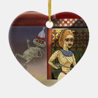 Mummific und Frau Keramik Herz-Ornament