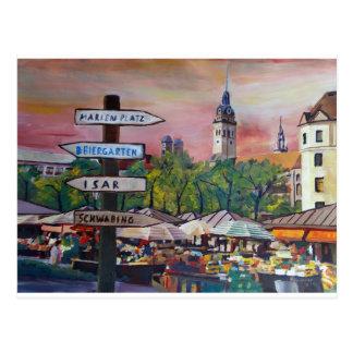 München-Bayern Viktualienmarkt mit Wegweisern Postkarte